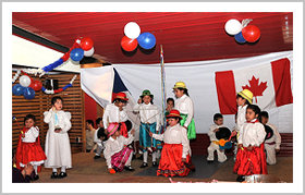 Children dancing a typical Chilean dance