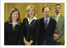 Ambassador Sarah Fountain Smith and the three Canadian speakers, Elisabeth Patterson Sébastien Grammond, Edgar-André Montigny