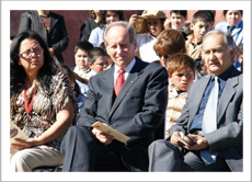 Sr. Ramiro Trucco, Canada's Honorary Consul in Concepción, sitting among the school administration and the community audience present for Escuela Libertad's inauguration ceremony