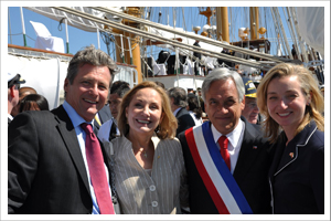 "Richard Smith; Cecilia Morel; President Sebastián Piñera; Ambassador Sarah Fountain Smith aboard Chile's reviewing vessel ""Esmeralda"""