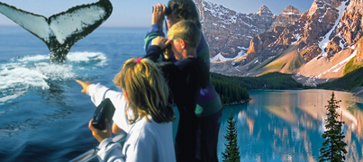 A family watches a whale, a lake in the Rocky Mountains