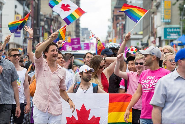 The Prime Minister Justin Trudeau marching in the Toronto Pride parade, July 2016