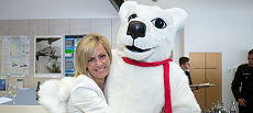 The Hon Elise Archer MP, Speaker of the House of Assembly and Liberal Member for Denison meets Canada Down Under mascot Pierre Polar Bear.