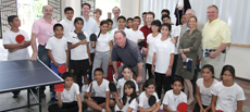 Canadian Delegation with group of boys and girls of Sierra Morena who participate in after school table tennis.