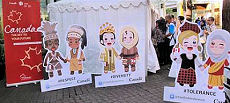 Canada's booth and cartoon characters at the PeaceTival.