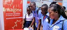Students visit Canada's information booth to learn about study opportunities.