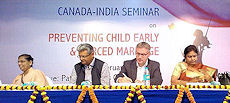 Canadian Deputy High Commissioner Jess Dutton and panel speakers at the Canada-India Seminar on preventing CEFM.