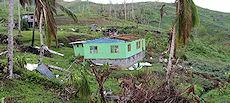 Une scène de dévastation totale sur l'île principale de Fidji de Viti Levu.