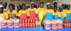 Entrepreneurs exhibit their palm oil products with improved packaging.