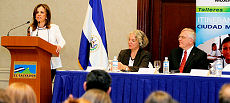 The First Lady and Secretary of Social Inclusion of El Salvador, Dr. Vanda Pignato opens the workshops. Left to Right: Dr. Pignato; Dr. Elaine Alpert, Gender Expert; Ambassador Pierre Giroux
