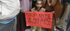 Refugees picket for better services.