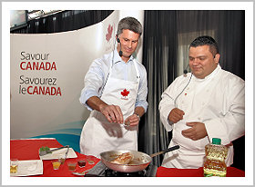 Ambassador McKay and Chef Edgar Alvarez whip up a tasty Canadian creation.