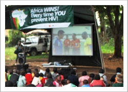 Community members turn up in the hundreds to watch the FIFA World Cup during a screening in Nairobi.