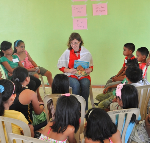 Reading stories at Gawad Kalinga