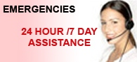 Emergencies 24 hour, 7 day assistance