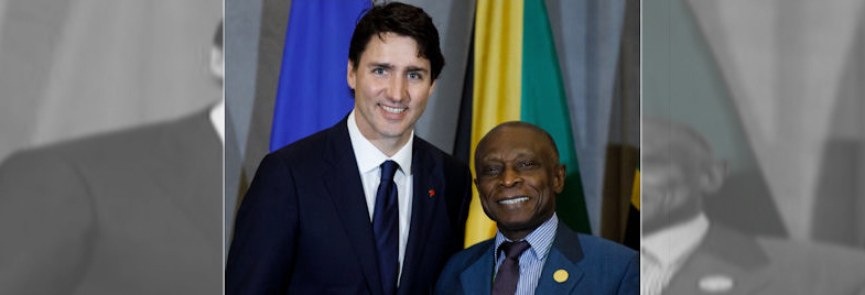 PM Trudeau with Guyana's Minister of Foreign Affairs, Carl Greenidge