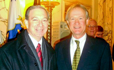 Canadian Consul General to New England Patrick Binns(left) with Rhode Island Governor Lincoln Chafee (right)