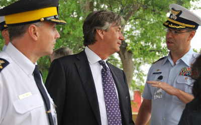 RCMP Assistant Commissioner Todd Shean, Canada'sAmbassador to the U.S. Gary Doer and U.S. Coast Guard Commander Paul Baker visited theMaritime Law Enforcement Academy to meet RCMP, USCG and U.S. Border Patrol Agents in theShiprider Program
