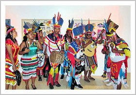 Contingent of Amerindian peoples on their visit to the Culture on Cloth exhibition